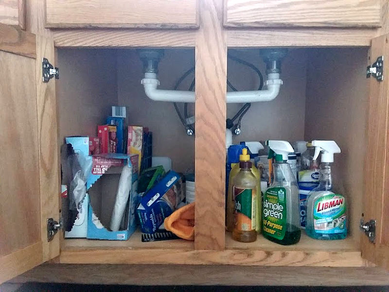 under kitchen sink area bags-cleaning supplies