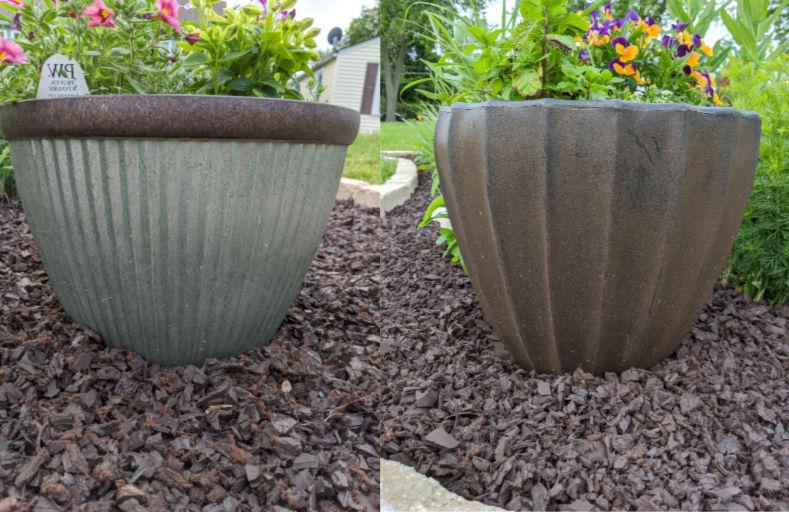 Faux galvanized and faux ceramic resin, plastic planters