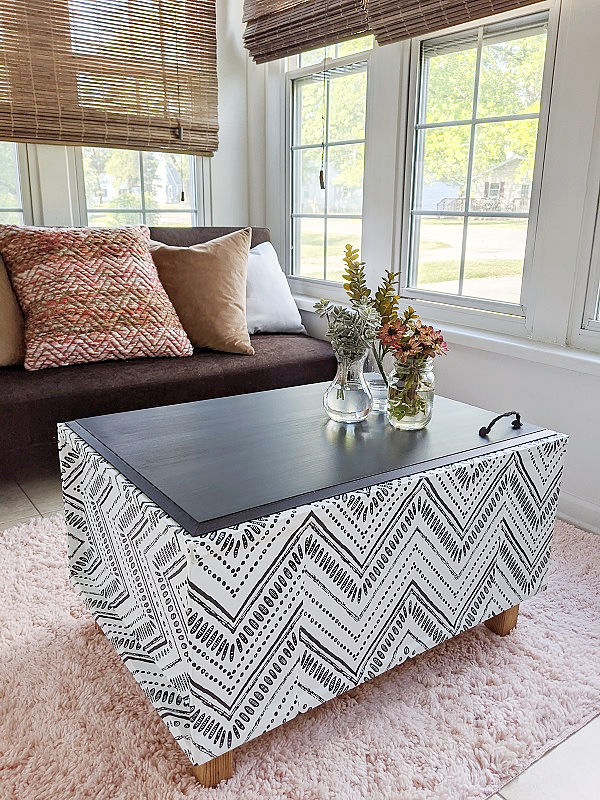 Boho DIY Wallpaper Coffee Table Bench