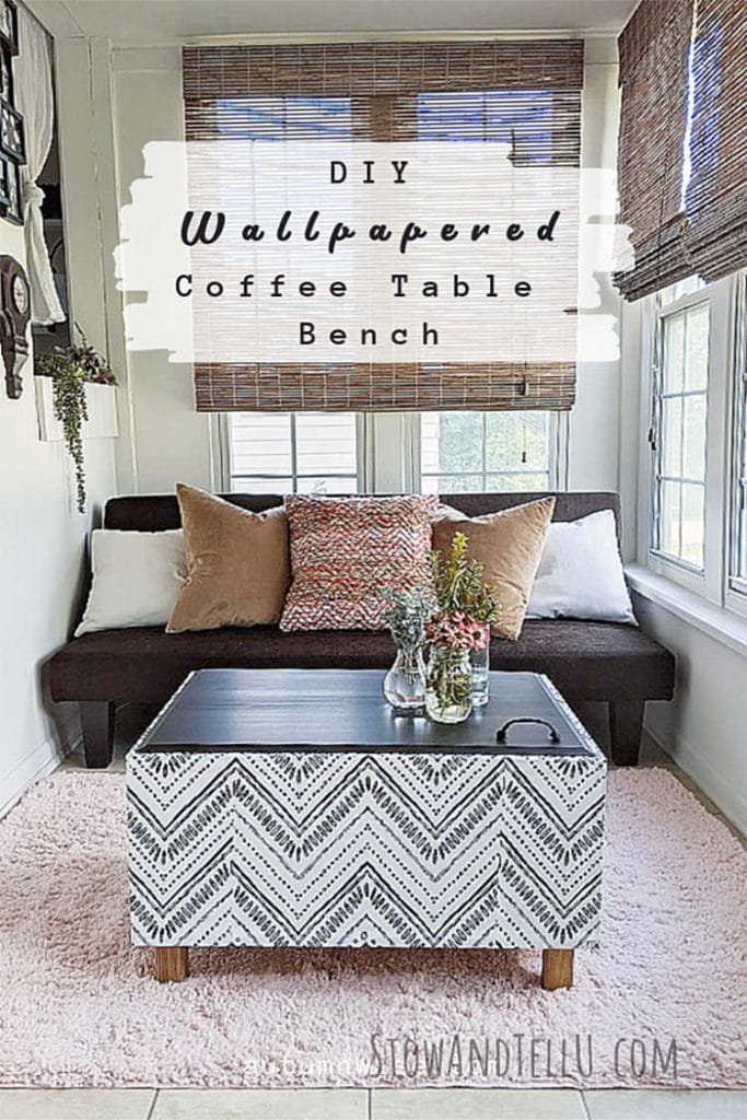 DIY Wallpaper Coffee Table Bench