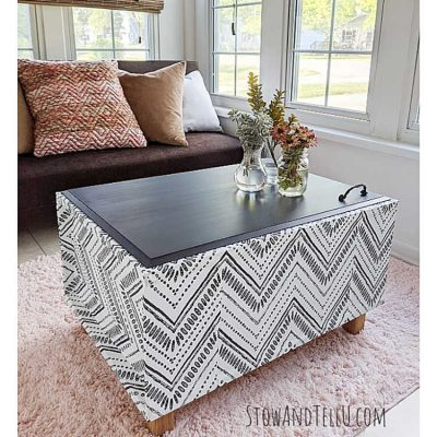DIY Boho Wallpaper Coffee Table Bench Makeover