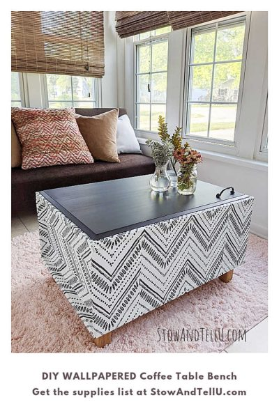 DIY Wallpapered Coffee Table Bench