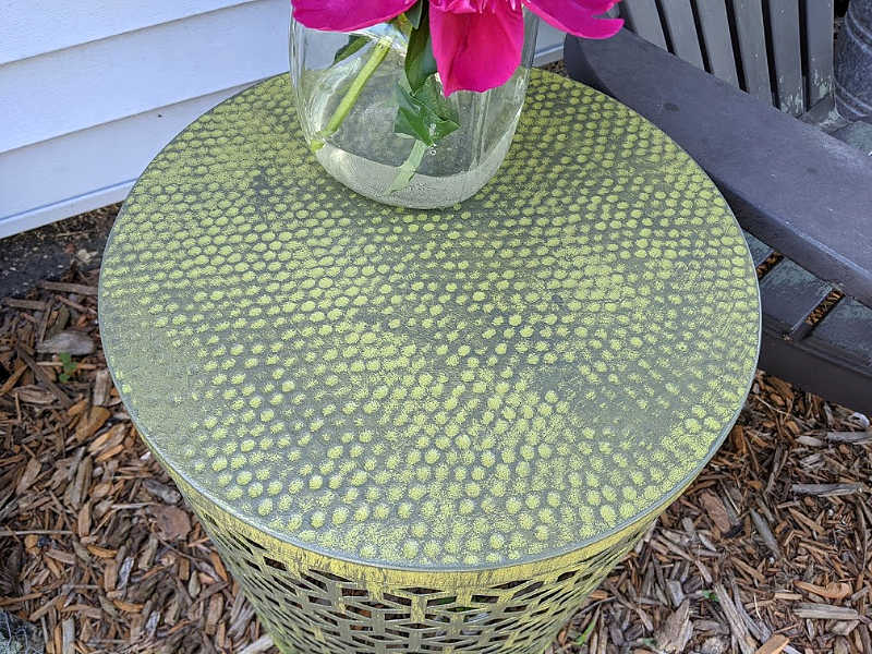 Green distress painted metal outdoor table
