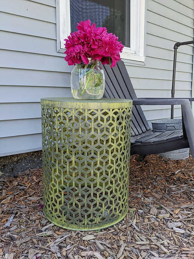 DIY outdoor distress painted metal lattice boho table