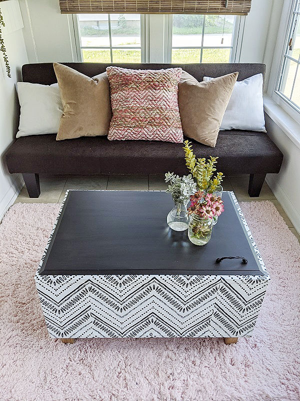 Black and White Boho Style Self Adhesive Wallpaper Coffee Table Bench