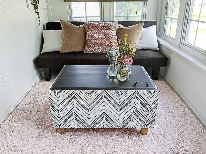 boho diy wallpaper bench