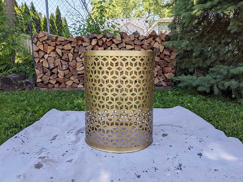 gold boho lattice outdoor drum table