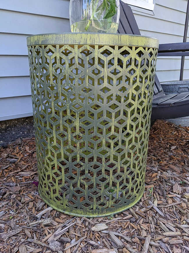 DIY distress painted metal lattice boho table