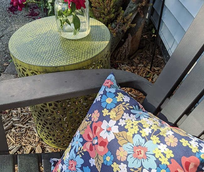 rustic green painted metal outdoor patio table