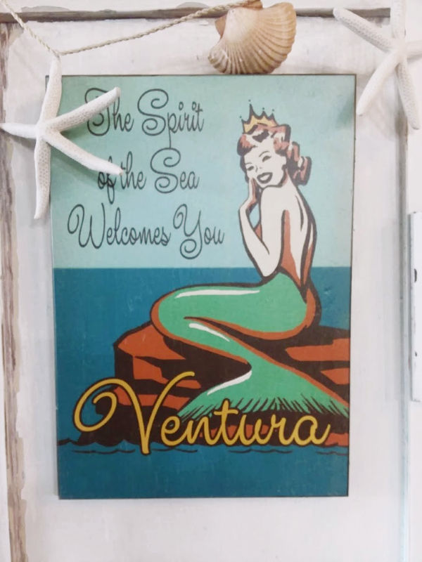Ventura Mermaid Art Framed and decorated with shells and twine