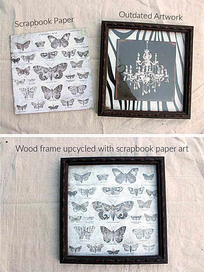 Recycled Picture Frame with Scrapbook Paper Art