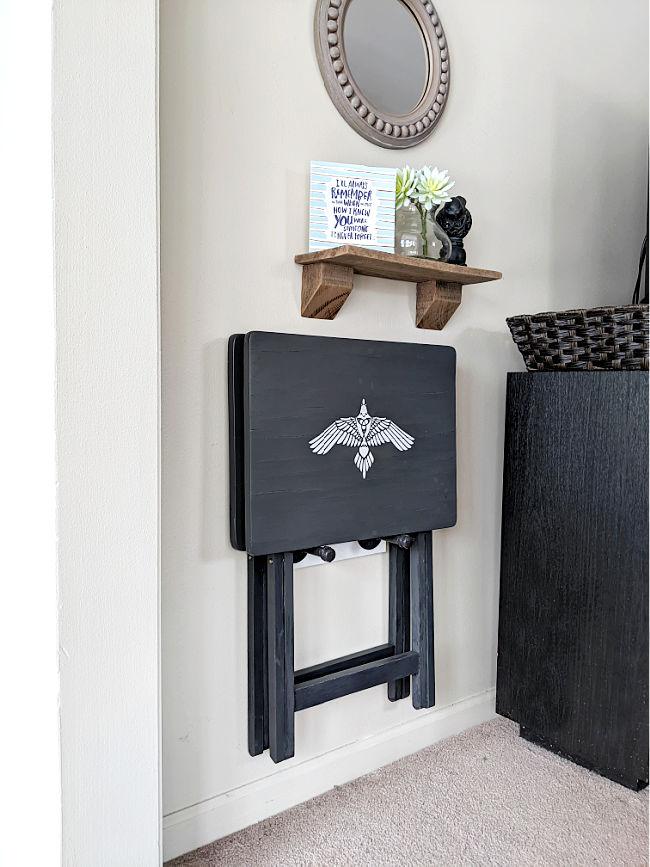 Dark Gray TV Trays Mounted on Wall