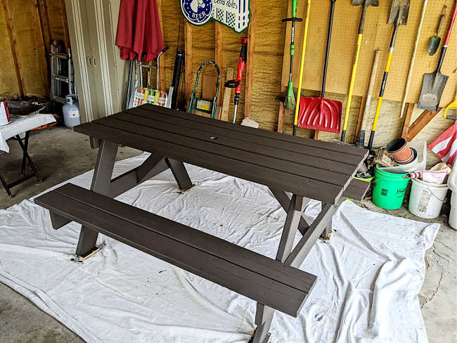 dark brown stained picnic table