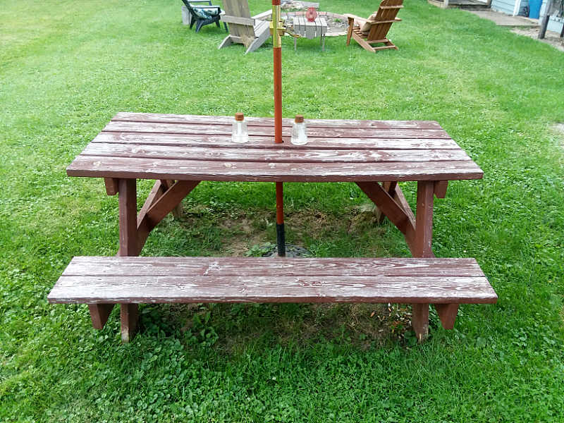 picnic table with worn-out finish