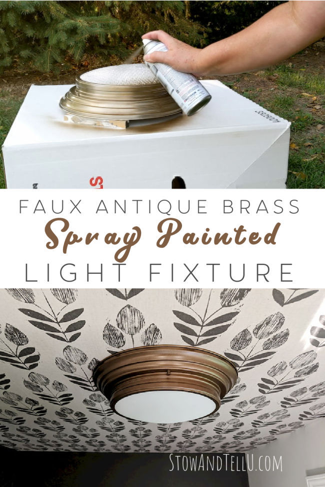 spray painting a light fixture