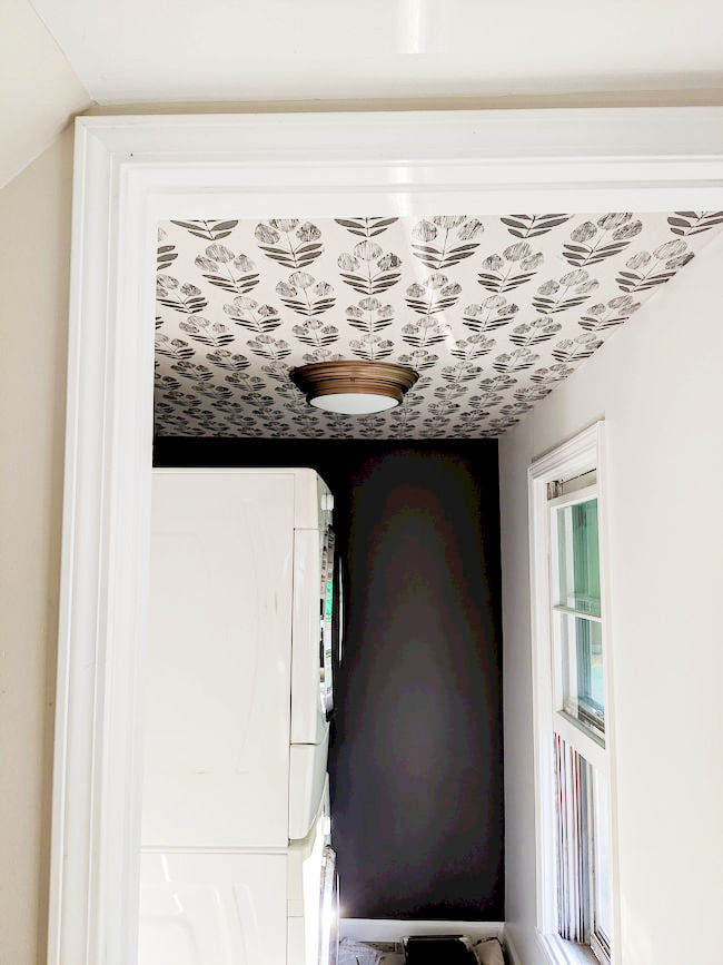 Dark Painted laundry room with wallpapered ceiling