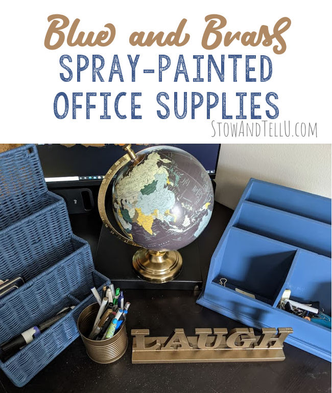 Blue and brass spray painted office supplies