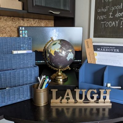 Budget-Friendly Blue and Brass Spray Painted Office Supplies