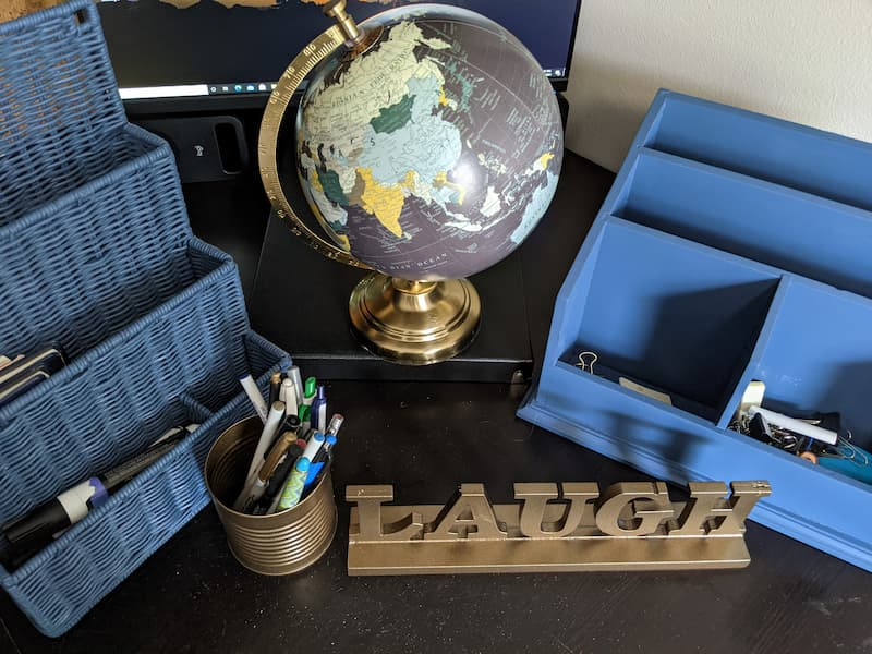 Coastal Blue and Antique Brass Spray Painted Office Items