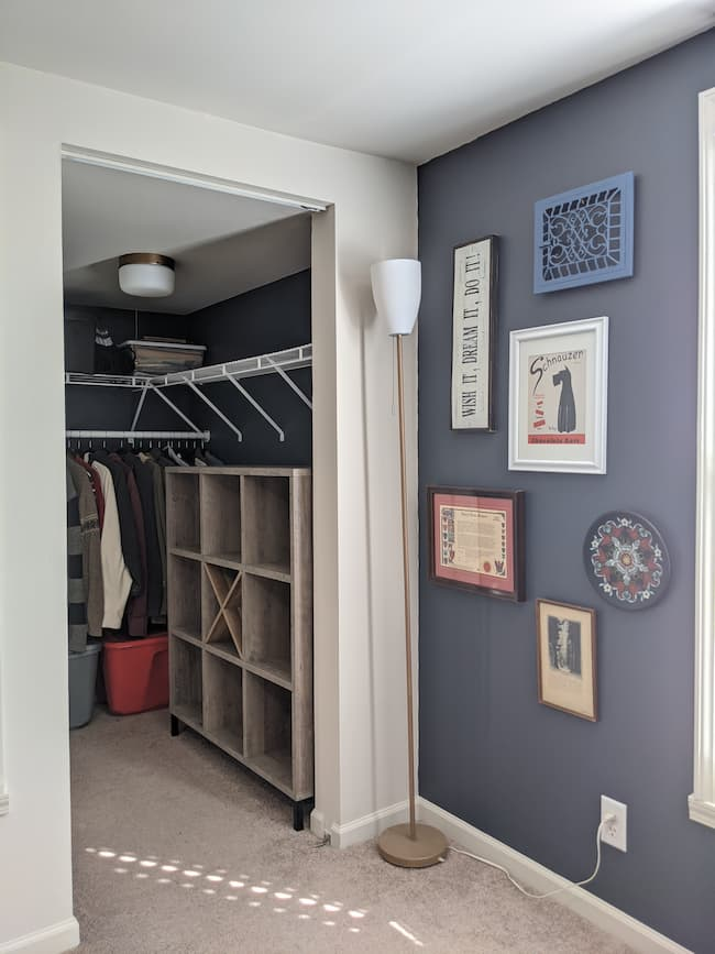 Budget closet makeover dark blue paint, cube storage