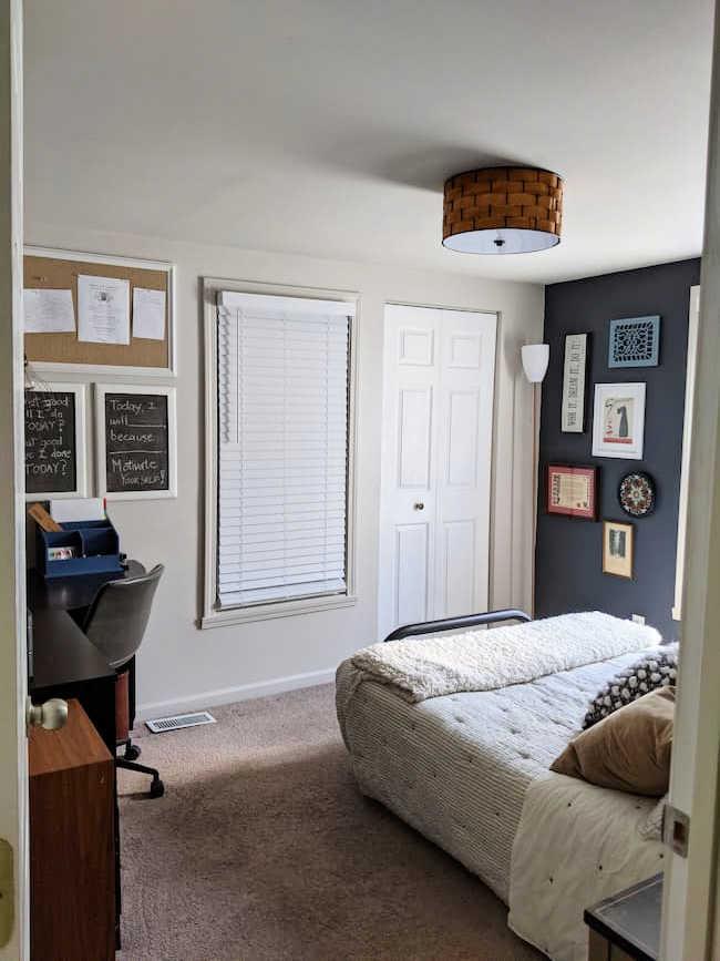 Bedroom Office Update with Basketweave Ceiling Lamp