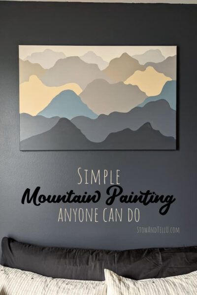 Simple Mountain Painting in Blue, Gray, and Tan