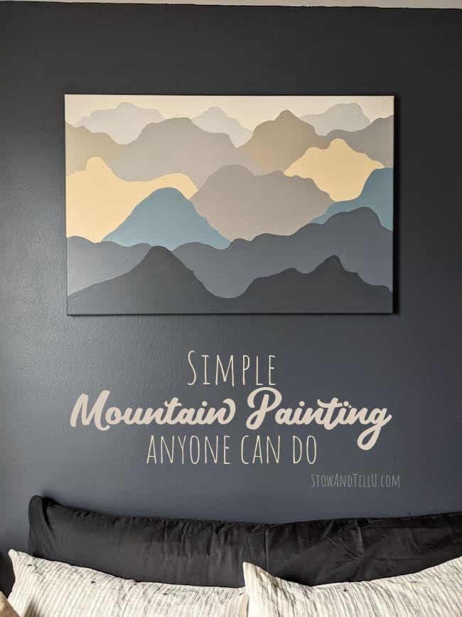 Simple Mountain Painting in Dark Blue, Gray, Tan