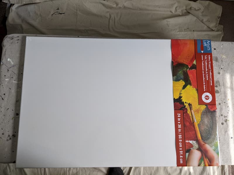 large blank store-bought canvas