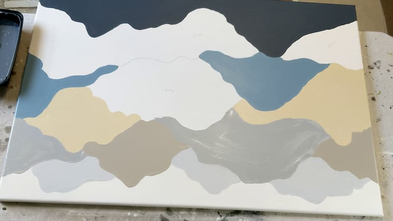 paint alternating sections of mountain pattern