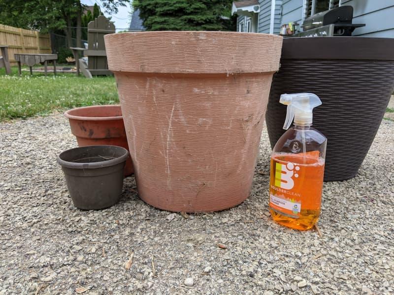 Degreaser, planter pots