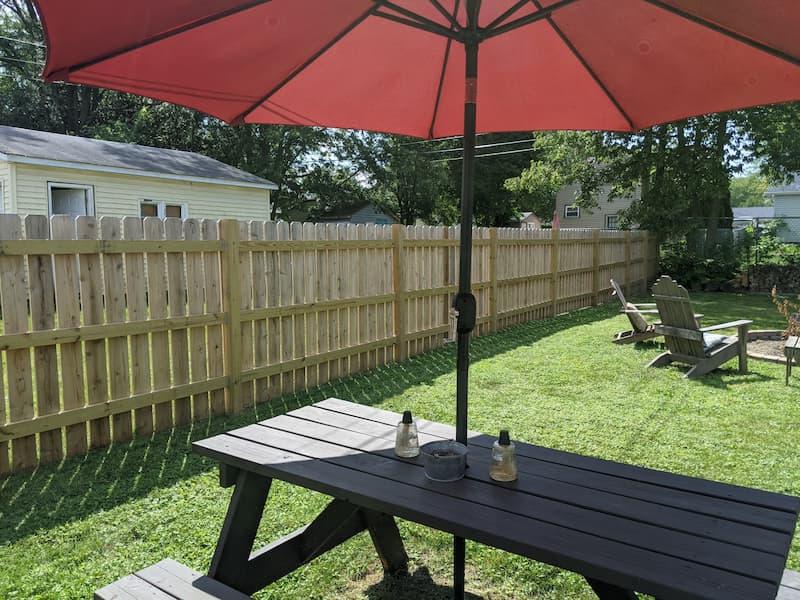 Cedar fence installed in small back yard
