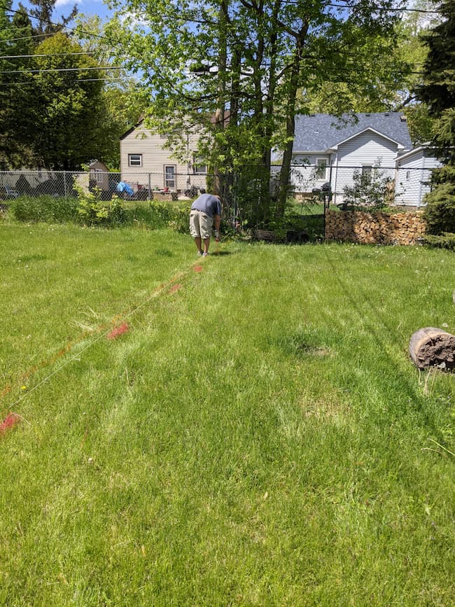 marking ground for fence installation