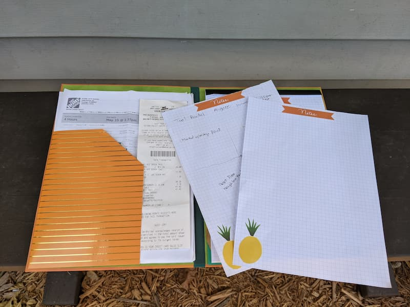 project binder and clipboard for home project management