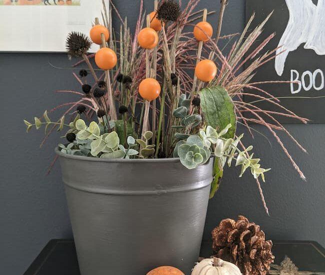 DIY Wood Bead Pumpkin Stems Fall Planter